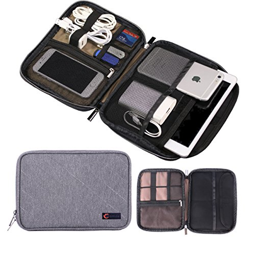 Universal Cable Organizer, Double Layer Travel Electronics Accessories Organizer Case for Various USB, Phone, Charger, Gear Organizer Storage Bag within 7 Inches