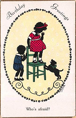F. Kaskeline artwork Birthday Postcard Silhouette Boy Girl Scared of Dog~118965