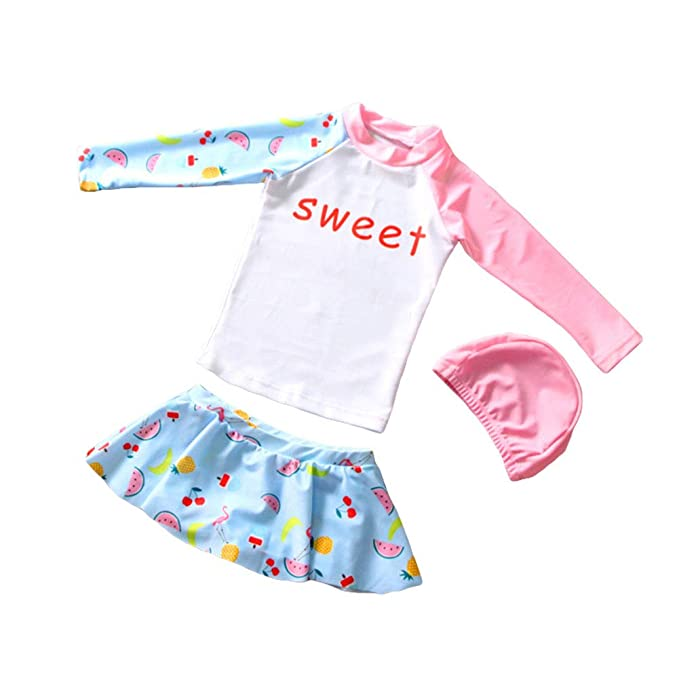 49d825e620 Amazon.com: Kikibaby Baby/Toddler Girls Fruit Long Sleeve Rash Guard ...