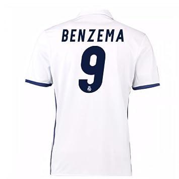 708269b05b5 2016-17 Real Madrid Home Football Soccer T-Shirt Camiseta (Karim Benzema  9)  Amazon.es  Deportes y aire libre