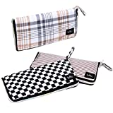 BMC 3pc Mixed Design Foldable Wallet Style Reusable Nylon Shopping Tote Bags - Set 6: Neutral Lines