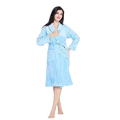 Women Soft Bathrobe Flannel Plush Warm Shawl Collar Robe Spa Kimono  Sleepwear-Blue S  d91a69d13