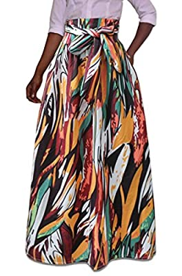Suncolor8 Women Summer African Print High Waisted Plus Size Swing Pleated Long Skirts