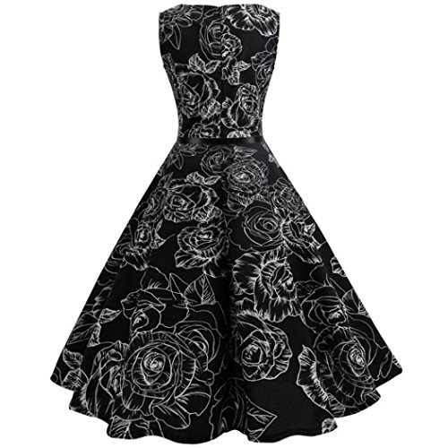 Price comparison product image Evening Party Dress, Clearance! AgrinTol Women Casual Vintage Floral Bodycon Sleeveless Evening Party Dress (XXL,  Black)