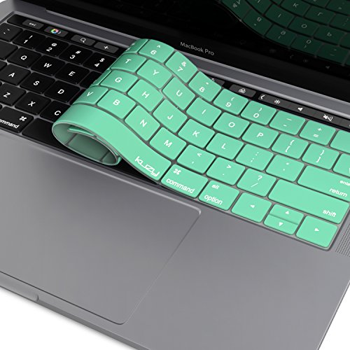 Kuzy - MacBook Pro Keyboard Cover with Touch Bar for 13 and 15 inch New 2019 2018 2017 2016 (Apple Model A2159, A1989, A1990, A1706, A1707) Silicone Skin Protector - Mint Green