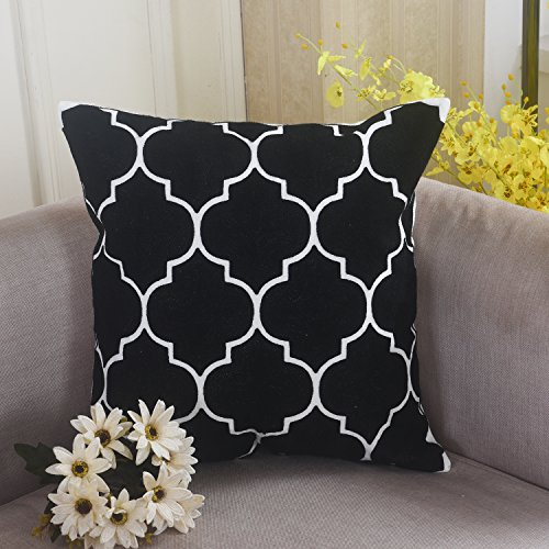 Home Brilliant Canvas Embroidery Throw Pillow Couch Cushion Cover, Moroccan Quatrefoil Tiles, 18x18, Black