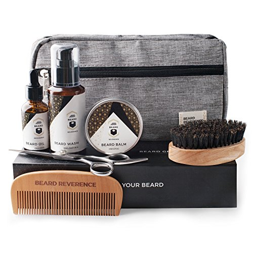 Beard Care Kit and Grooming Set with Travel Bag | Beard Reverence Beard Products| Barber Scissors for styling, Comb, Boar Bristle Brush, Beard Shampoo Wash, Balm, Unscented Oil Conditioner, Beard Gift
