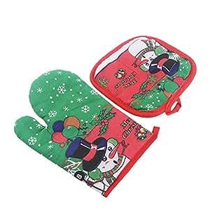 bestomz Navidad guante protector de hornear y Hot Pot Mat resistente al juego para barbacoa guantes de horno, microondas