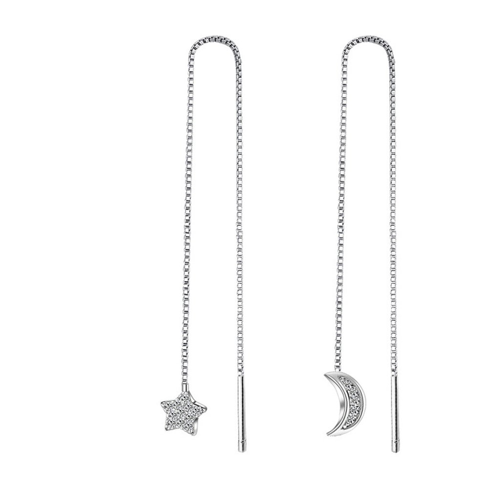 1e09fbc4a Amazon.com: Jenny-BaBy Moon and Star Sterling Silver Thread Earrings for  Women Girls: Jewelry