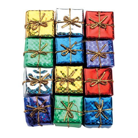 Better Crafts MINI XMAS HOLOGRAPHIC GIFT BOXES X 12 ASST .75 IN (12 pack) (01641-910) Asst Gift Box