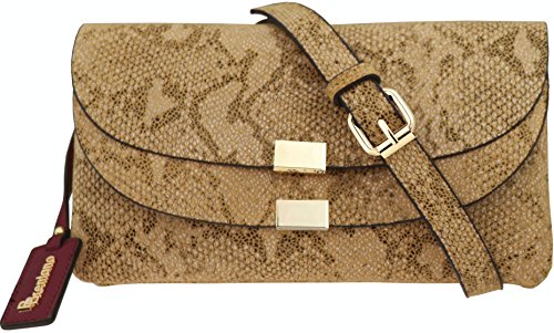 (B BRENTANO Vegan Fashion Double-Flap Wristlet Clutch Crossbody Handbag (Tan Snake))