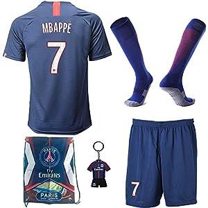 BAOKUAN Maillot de Football pour garçons # 7 Mbappe PSG Home - Pantalon et Chaussette de Football pour Enfants avec… 1