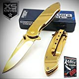 6.5'' Defender Xtreme Golden Limited Edition Elite Knife Spring Assisted Pocket Folding Limited Edition Elite Knife Luxury + free eBook by ProTactical'US