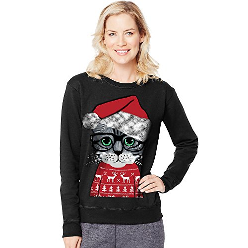 Hanes Women's Ugly Christmas Sweatshirt, Black My Cat Sweater, - Ugly Christmas Sweaters