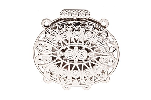 (Oval Filigree 4 Strand Box Clasp Platinum-Finished Brass 26x26mm sold per pack of 2 )
