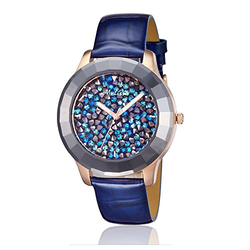 ock Austrian Crystal Watch and Blue Leather Strap CW 0029 M (Womens Austrian Crystal Watch)