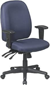Office Star Multi Function Ergonomic Chair with Ratchet Back Height Adjustment and Adjustable Soft Padded Arms, Navy