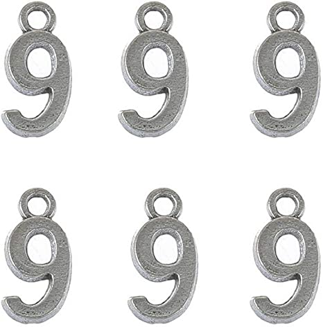 100 Tibetan Silver Alloy Numbers 0-9 Charms Pendants Beads DIY Jewelry Craft