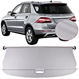 Tonneau Cover Fits 2012-2015 Mercedes-Benz ML Class ML350 | Grey PU Cargo Cover Retractable Shielding Shade Luggage Security Shield 1PC By IKON MOTORSPORTS | 2013 2014