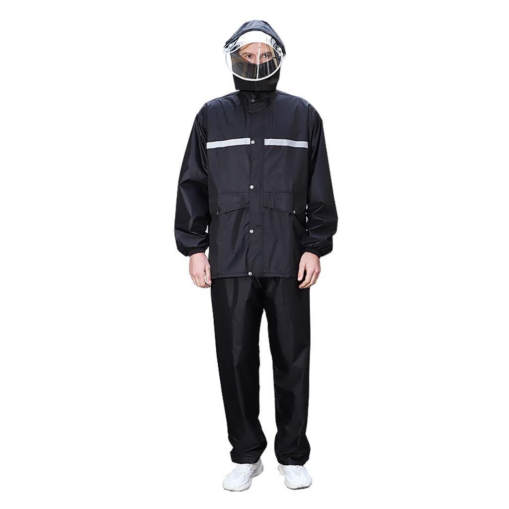 大人のレインコート、フルボディ厚ダブル防水レインコートレインパンツスーツ防風雨分割レインコートポンチョユニセックス YUYI (Color : Black, Size : XXXXL) B07S91C2ZR Black XXXXL