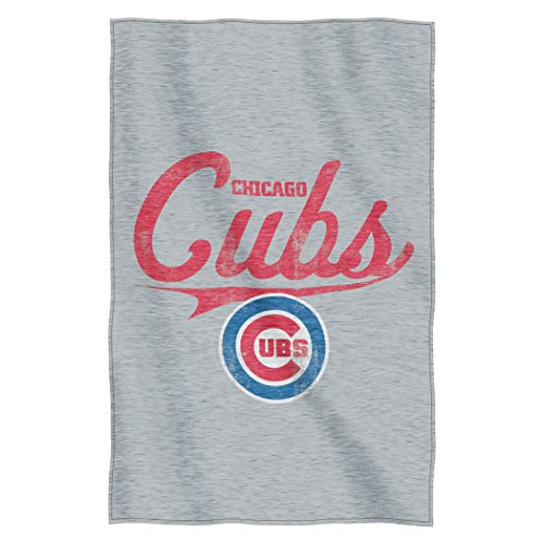 Officially Licensed MLB Chicago Cubs Script Sweatshirt Throw Blanket, 54