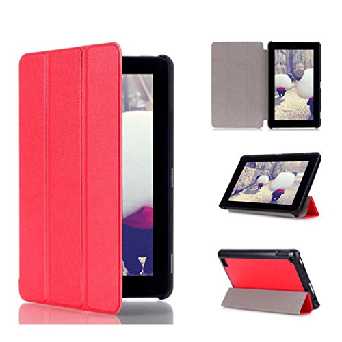 Price comparison product image Amazon Kindle Fire 7inch 2015 Case,Sunfei Tri-Fold Leather Stand Case Cover for Amazon Kindle Fire 7inch 2015 (Red)