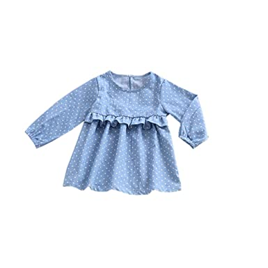 LIAOMNKJ Mangas pequeñas para niña pequeña Vestido Azul Volante de Manga Larga Size 110 (Blue