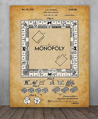 (Poster - Monopoly Board Game Patent - Choose Unframed Poster or Canvas - Makes a Great Gift for Gamers)
