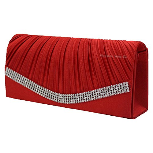 Clutch Wedding Red Handbag Prom Evening Womens Bridal Wocharm Bag Studded Crystal Satin Party Pleated 1nYaq7