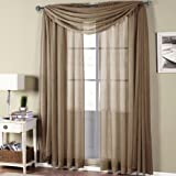 Abri Mocha Rod Pocket Crushed Sheer Curtain Panel, 50x96 inches, by Royal Hotel