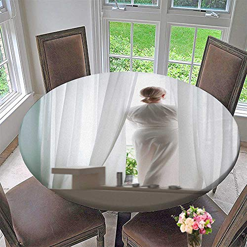 PINAFORE HOME Round Premium Tablecloth Blonde Young Woman Silk Bathrobe Stand by The Window Natural Light Stain Resistant 35.5