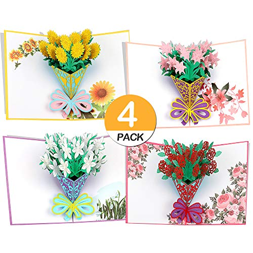 3D Greeting Cards Flower Pop Up For All Occasions Assorted 4 Birthday Mothers Day Christmas Valentines Gift Thanksgiving