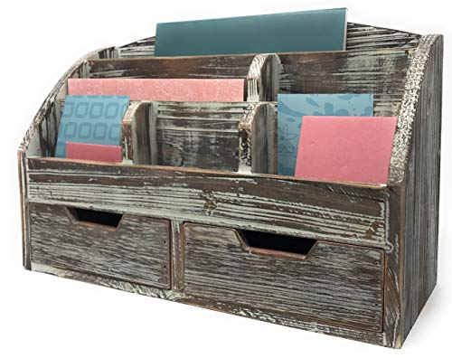 Farmhouse Decor Decorative Desk Organizer 3 Tier Mail Sorter Rustic Wood Distressed Finish