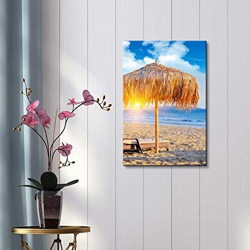 Straw Umbrella Under a Tropical Sunset on a Sandy Beach Wall Decor ation