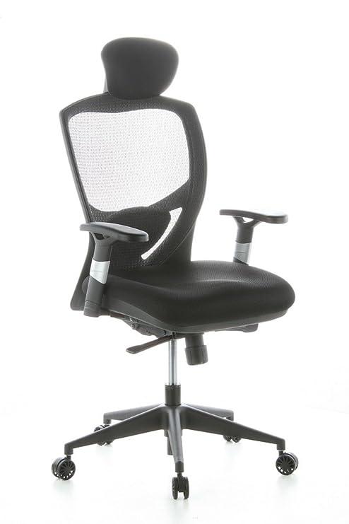 hjh OFFICE 657100 silla de oficina VENUS BASE asiento tejido / respaldo malla negro silla ergonómica