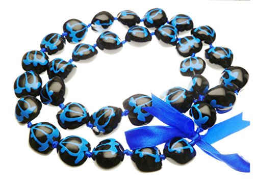 Aloha Passion Hawaiian Style Kukui Nut Lei, Hand Painted Blue Turtle 32 Inches, with matching - Lei Kukui
