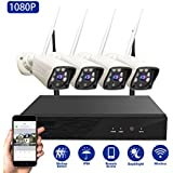 Wireless Home Security Cameras System Abowone 4 Channel Wireless NVR 4PCS 1080P HD IP66 Weatherproof Wireless Security Cameras Auto Pair Remote View Motion Detection 100ft Night Vision(No Hard Drive)