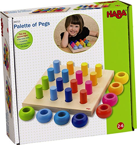 HABA Palette of Pegs - 32 Piece Wooden Pegging & Arranging Game for Ages 2 and Up