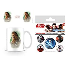 Set: Star Wars, Episode VIII, The Last Jedi Chewacca Brushstroke Photo Coffee Mug (4x3 inches) And 1 Star Wars, Badge Pack (6x4 inches)