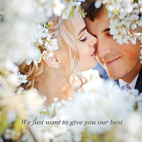 Udalyn Teardrop Dangle Wedding Earrings for Women Silver CZ Drop Earrings Prom Bridesmaid Jewelry Earrings by Udalyn (Image #3)
