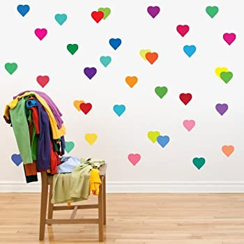 36 Confetti Rainbow Hearts Wall Decals Stickers Removable And Reusable Peel  And Stick