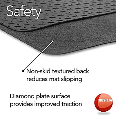 Resilia - Garage Mat, Prevents Stains - Decorative Embossed Diamond Plate Pattern - Black, 3 Feet x 4 Feet: Automotive