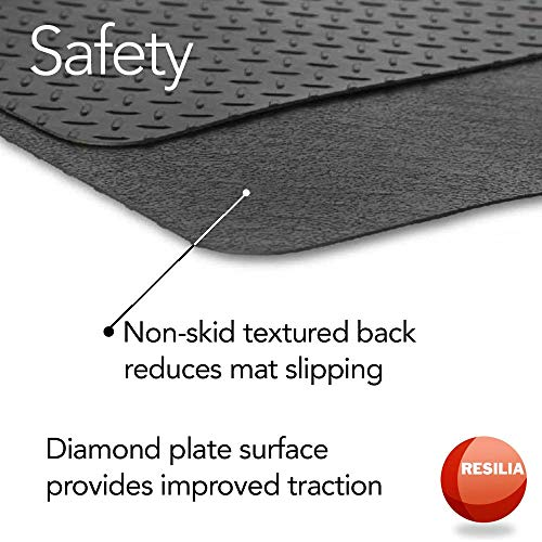 Resilia - Garage Mat, Prevents Stains - Decorative Embossed Diamond Plate Pattern - Silver, 3 Feet x 4 Feet by Resilia (Image #5)