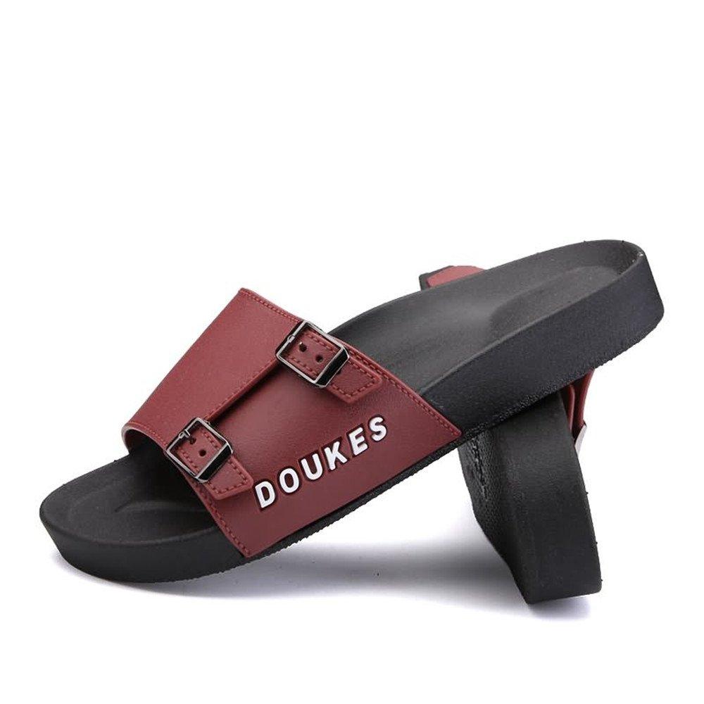 Sandalias de la Diapositiva de la Moda de la Correa Ancha del Deslizador de los Hombres con la Mini Plataforma de Las Hebillas metálicas Dobles 42 EU|Brown