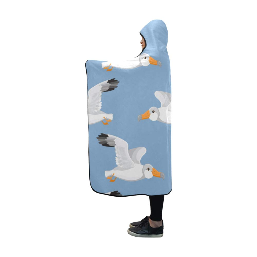 MOVTBA Hooded Blanket Albatross Flying Animal Wild Blanket 60x50 Inch Comfotable Hooded Throw Wrap