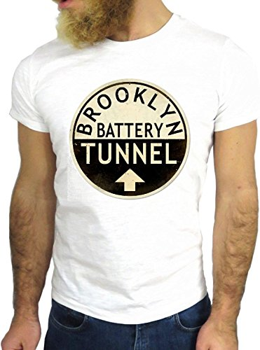 T SHIRT JODE Z3158 BROOKLYN NEW YORK TUNNEL LOGO FUN NICE DIRECTION AMERICA GGG24 BIANCA - WHITE L