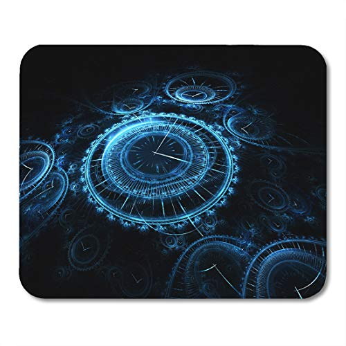 Boszina Mouse Pads Abstract Blue Time Rendering Resembling Many 3D Vintage Timepieces Black Watch Digital Mouse Pad for notebooks,Desktop Computers mats 9.5
