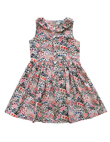 SOLOCOTE Girls Floral Cotton Dress with Ruffle Kids Summer Dresses Youth Sleeveless Sundress, 191116, Red, 13-14Y (Best Deals For Veterans Day)