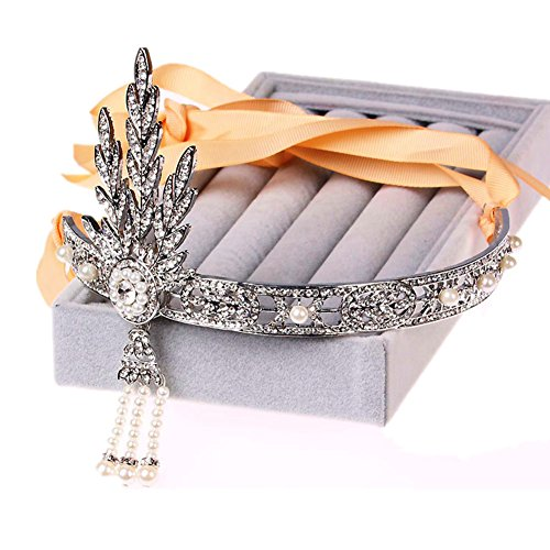 [1920's Great Gatsby Vintage Style Pearl Crown Charleston Bridal Headband New] (Charleston Costume Women)
