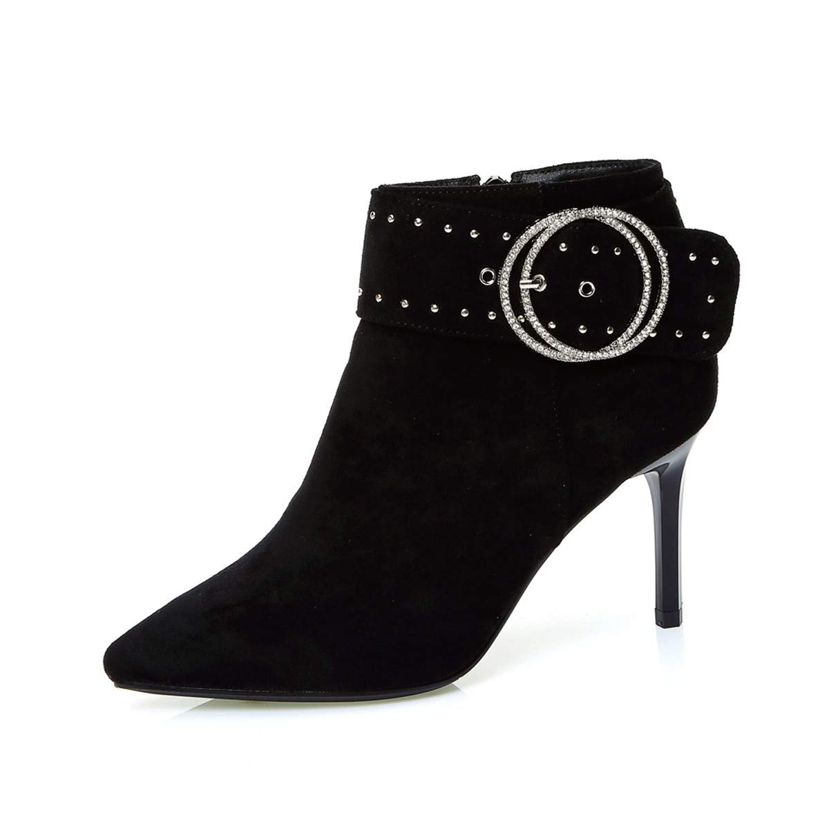 LBTSQ-Gürtelschnallen Nieten Fashion Tops Spitze 8Cm High Heels High Heels Reißverschlüsse Martin Stiefel Schuhe